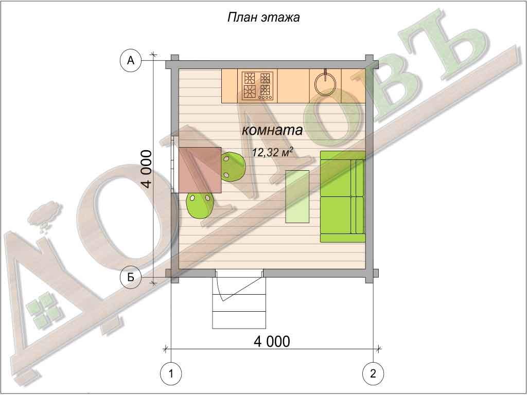 Дом из бруса 4x4 - планировка 1 этажа