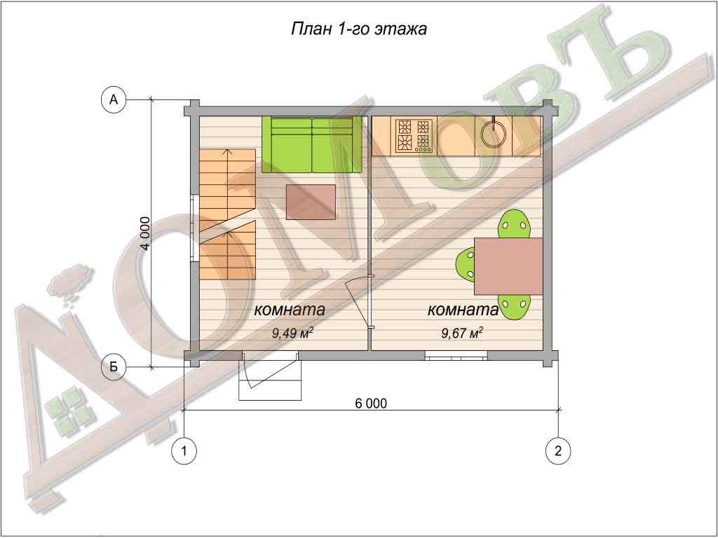 Дом из бруса 4x6 - планировка 1 этажа