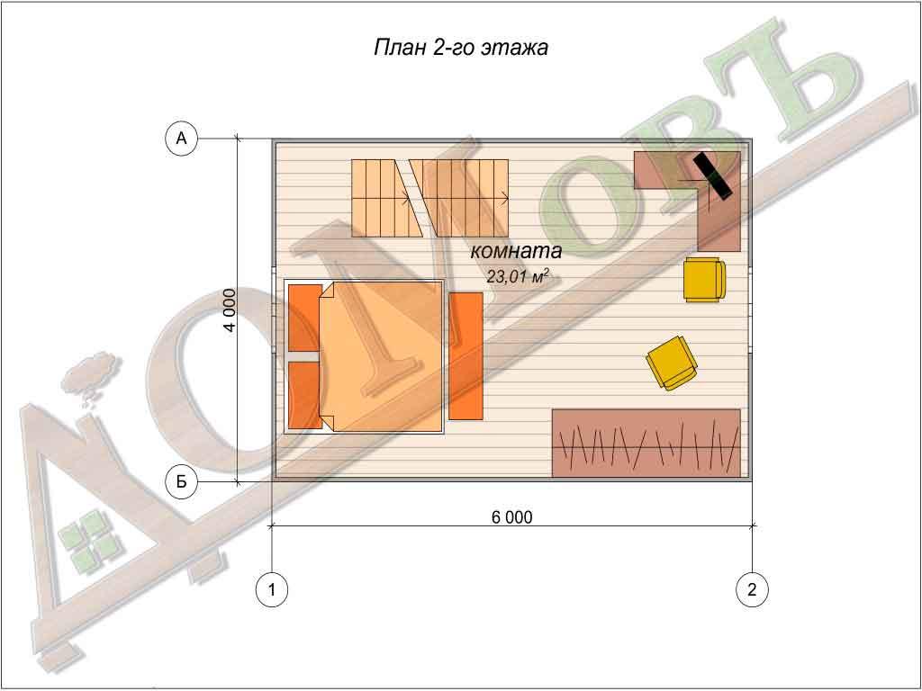 Дом из бруса 4x6 - планировка 2 этажа
