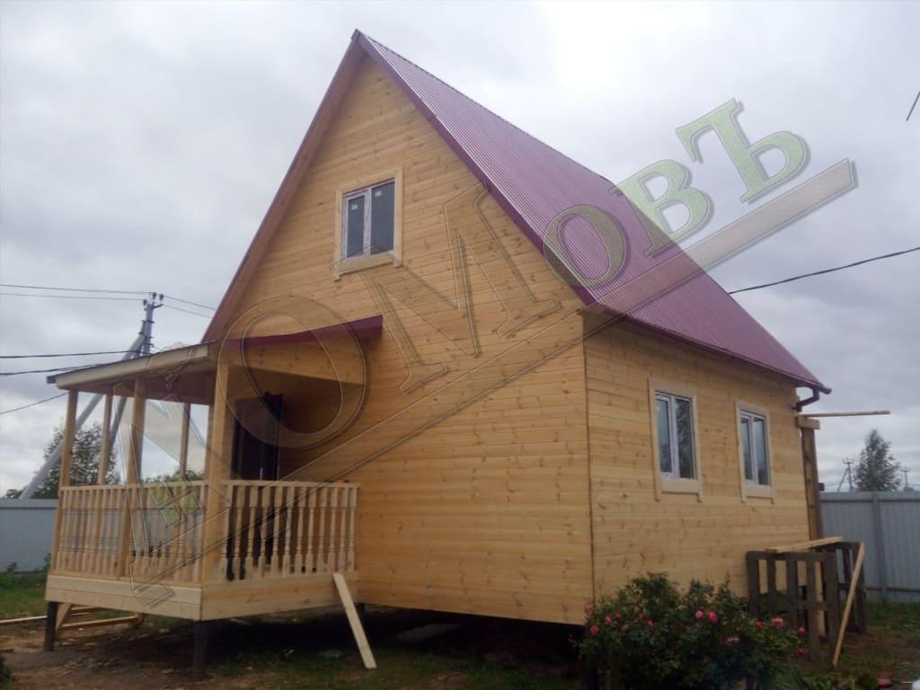 Каркасный дом 6х6 с террасой 2х3 - экстерьер, фотография 2