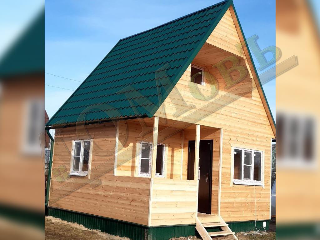 Каркасный дом 5х3,5 с мансардой 3х3,5 с террасой и верандой 1,5х2,5 с балконом 1,5х3 - фотографии