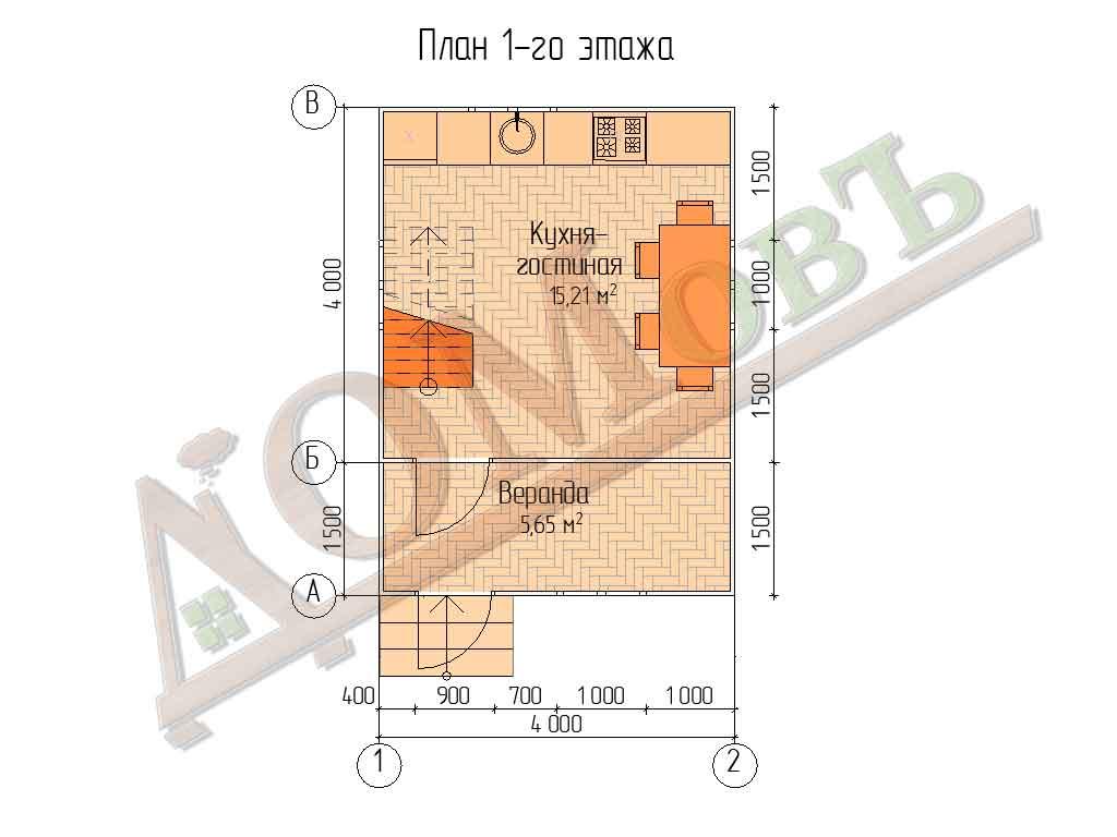 Каркасный дом 4х4 с верандой 1,5х4 - планировка 1 этажа