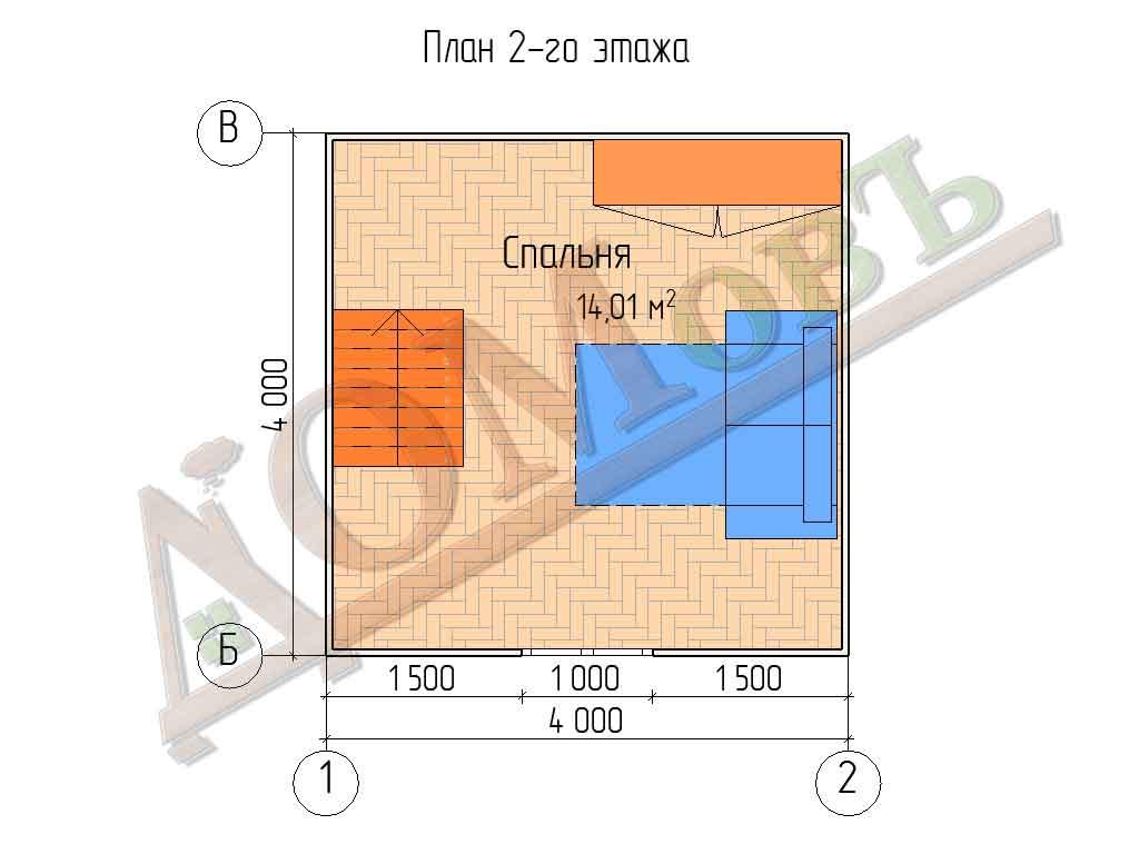 Каркасный дом 4х4 с верандой 1,5х4 - планировка 2 этажа