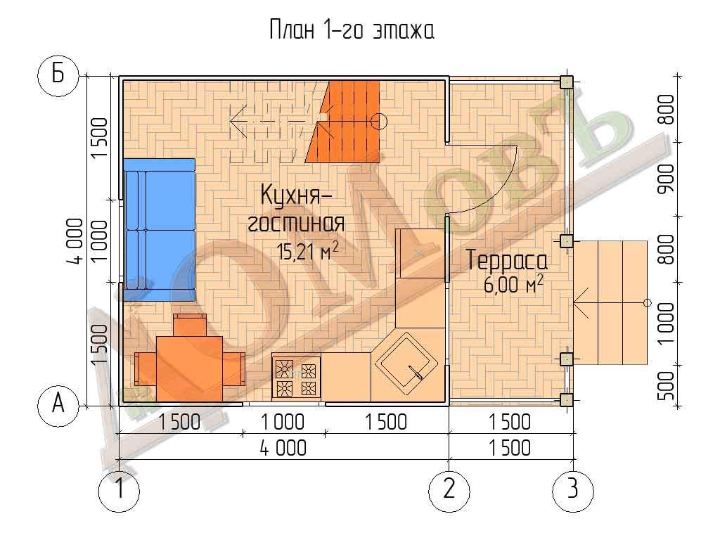 Каркасный дом 4х4 с террасой 1,5х4 - планировка 1 этажа
