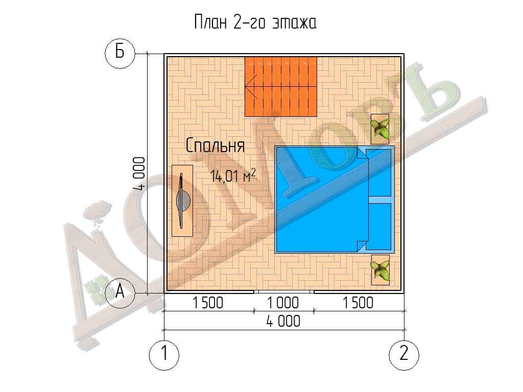 Каркасный дом 4х4 с террасой 1,5х4 - планировка 2 этажа