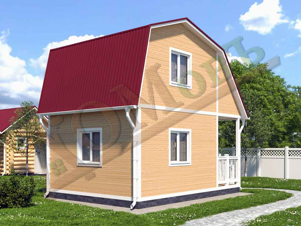 Каркасный дом 4х4 с террасой 1,5х4 - ракурс 2