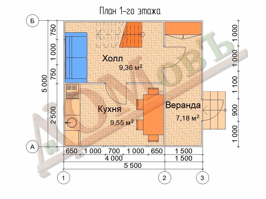 Каркасный дом 4х5 с верандой 1,5х5 - планировка 1 этажа
