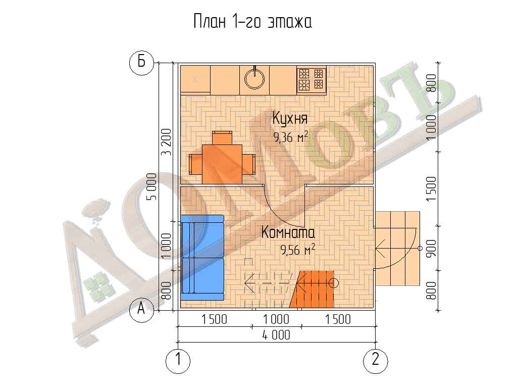Каркасный дом 4х5 - планировка 1 этажа