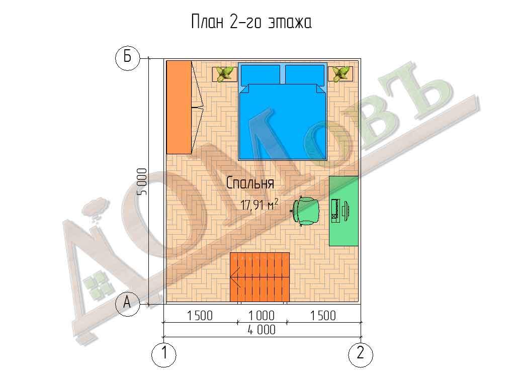 Каркасный дом 4х5 - планировка 2 этажа