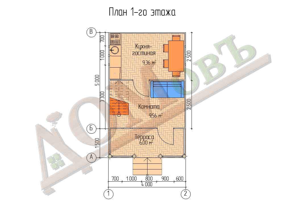 Каркасный дом 4х5 с террасой 1,5х4 - планировка 1 этажа