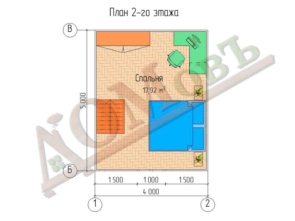 Каркасный дом 4х5 с террасой 1,5х4 - планировка 2 этажа