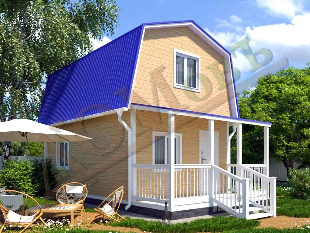 Каркасный дом 4х5 с террасой 1,5х4