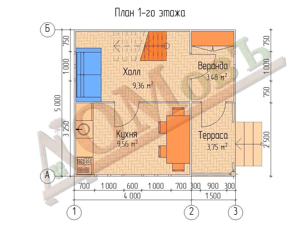 Каркасный дом 4х5 с террасой и верандой 1,5х2,5 - планировка 1 этажа