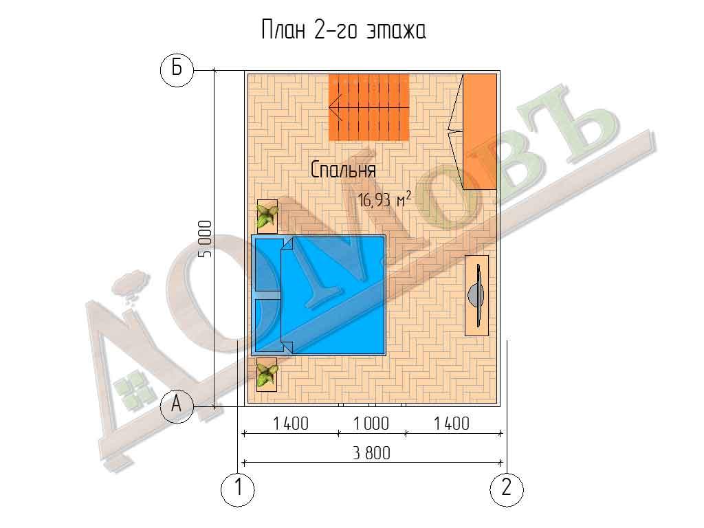 Каркасный дом 4х5 с террасой и верандой 1,5х2,5 - планировка 2 этажа