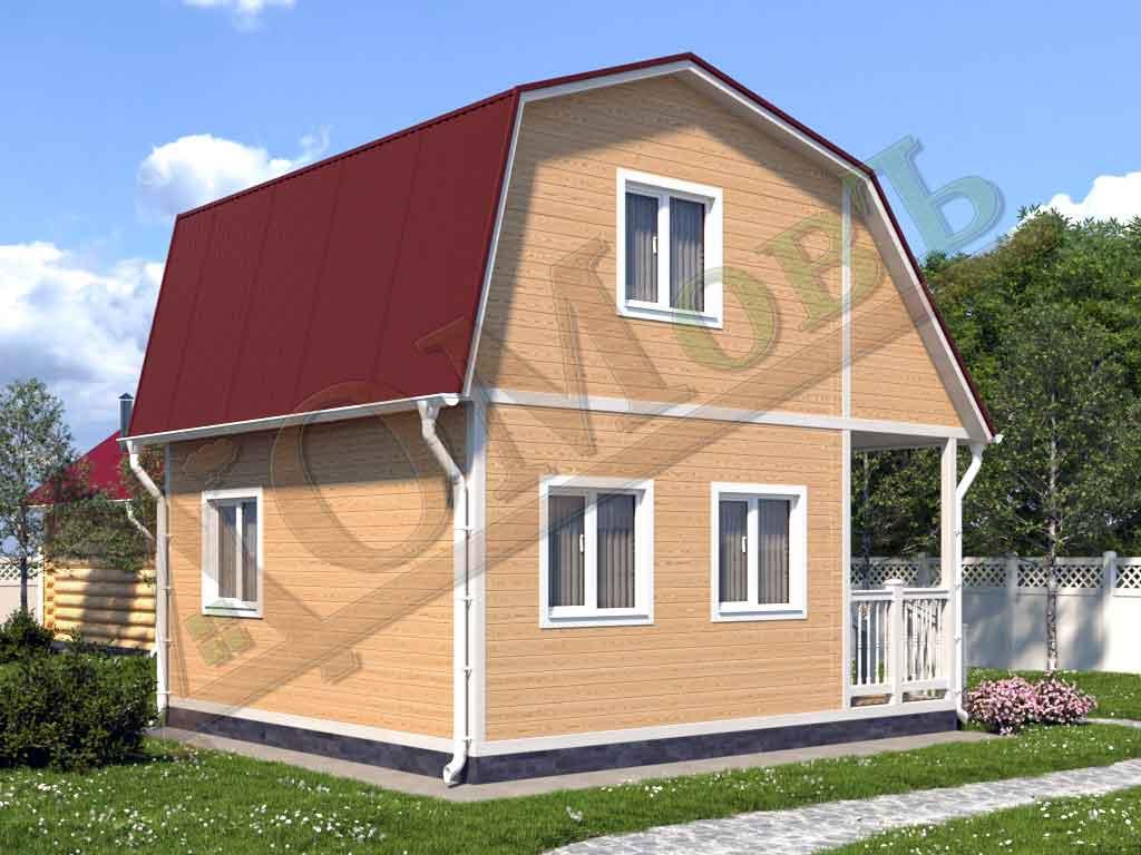 Каркасный дом 4х5 с террасой и верандой 1,5х2,5 - ракурс 2