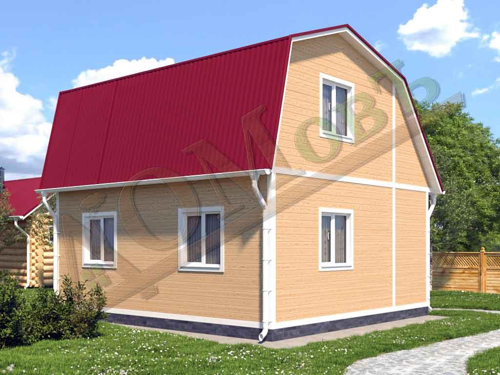 Каркасный дом 4х6 с верандой 1,5х6 - ракурс 2