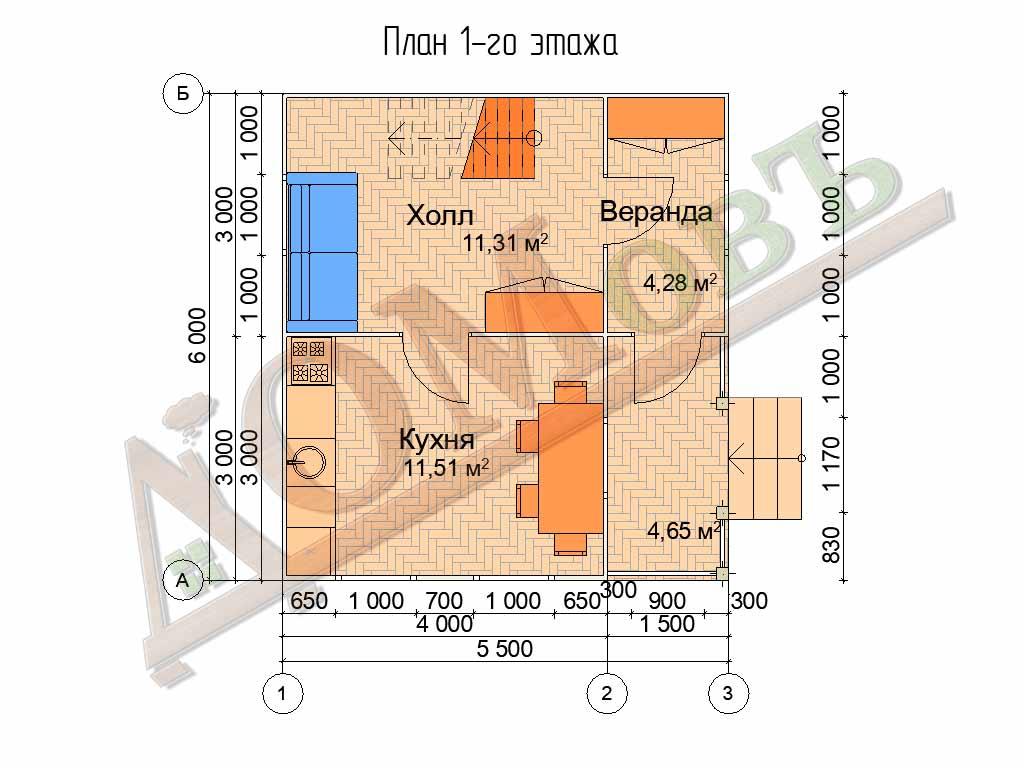Каркасный дом 4х6 с террасой и верандой 1,5х3 - планировка 1 этажа