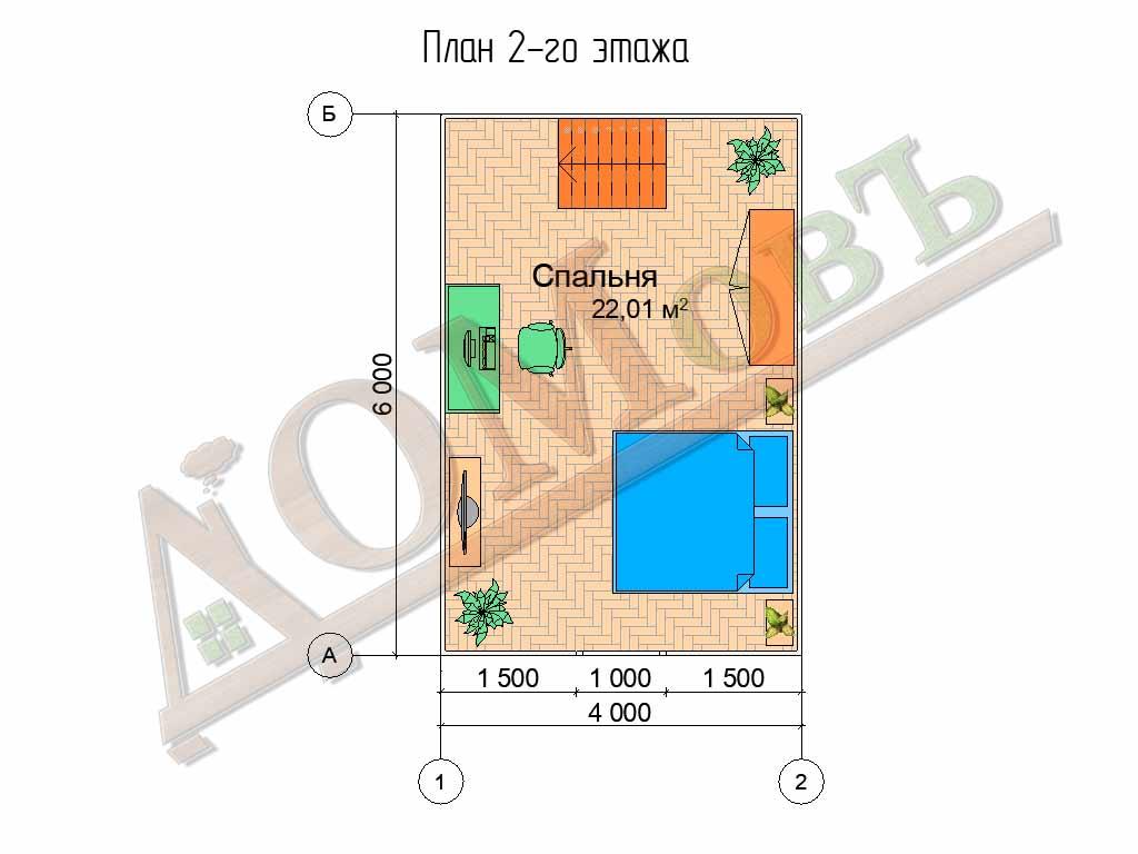 Каркасный дом 4х6 с террасой и верандой 1,5х3 - планировка 2 этажа