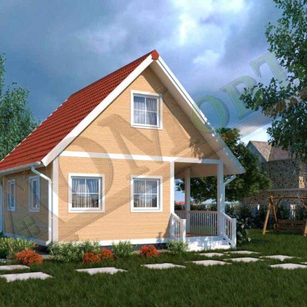 Каркасный дом 4х6 с террасой 2х6
