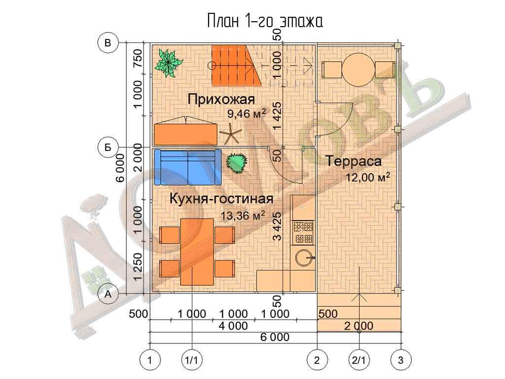 Каркасный дом 4х6 с террасой 2х6 - планировка 1 этажа