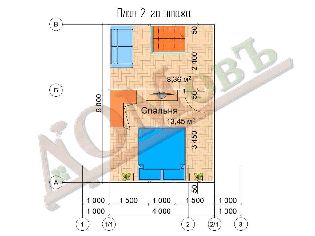 Каркасный дом 4х6 с террасой 2х6 - планировка 2 этажа
