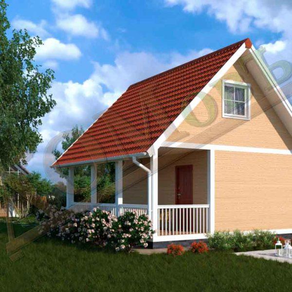 Каркасный дом 4х6 с террасой 2х6 - ракурс 2