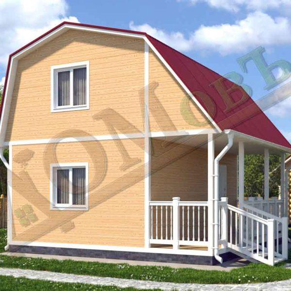 Каркасный дом 4х6 с террасой 1,5х6