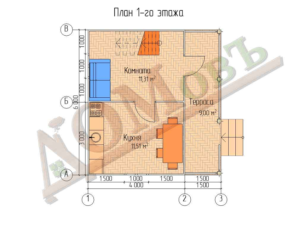 Каркасный дом 4х6 с террасой 1,5х6 - планировка 1 этажа