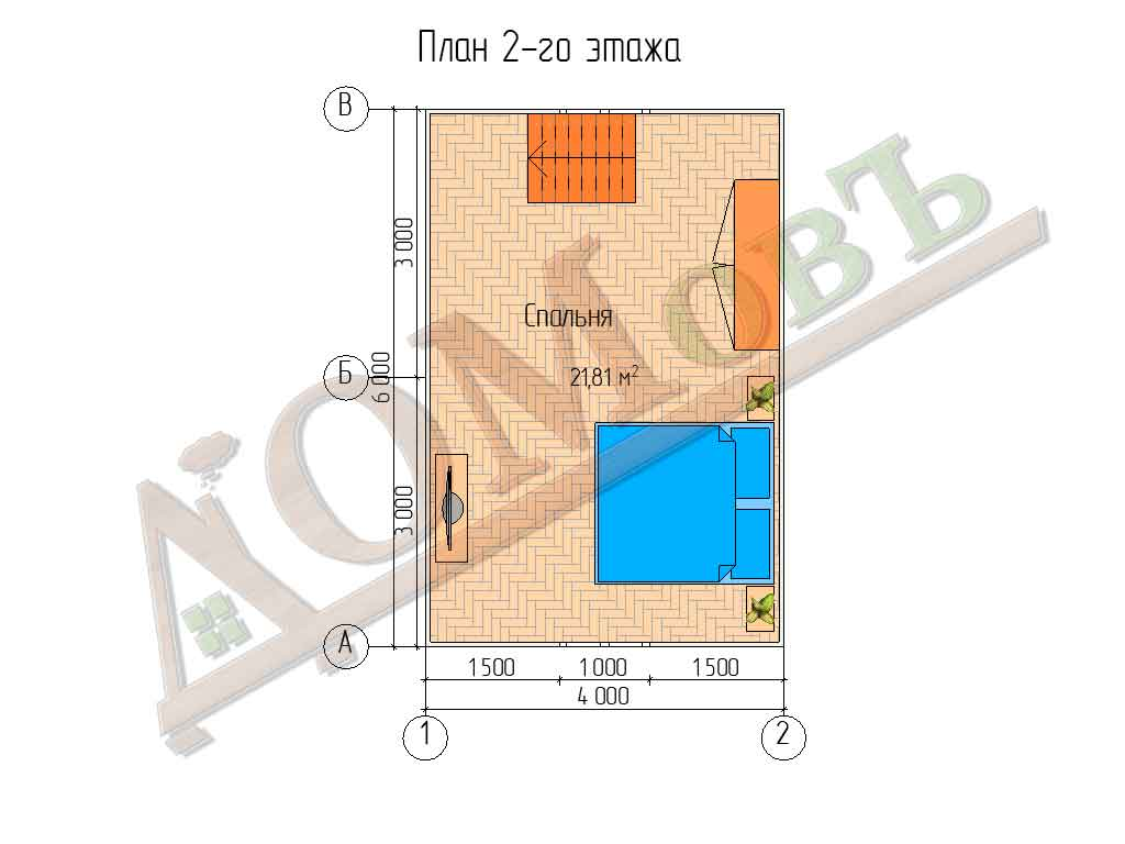 Каркасный дом 4х6 с террасой 1,5х6 - планировка 2 этажа