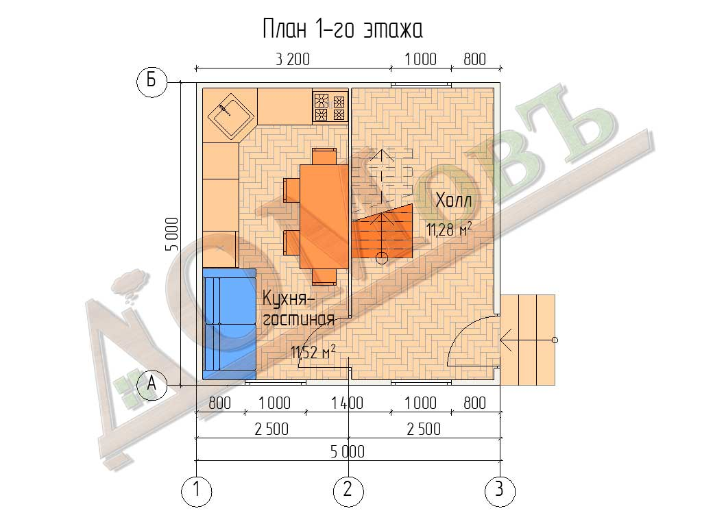 Каркасный дом 5х5 - планировка 1 этажа