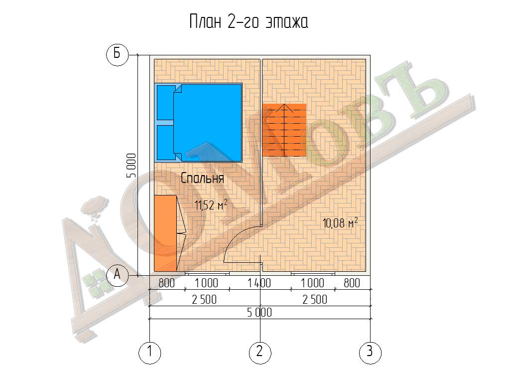 Каркасный дом 5х5 - планировка 2 этажа