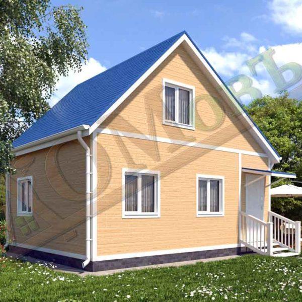 Каркасный дом 5х5 с верандой 1,5х5