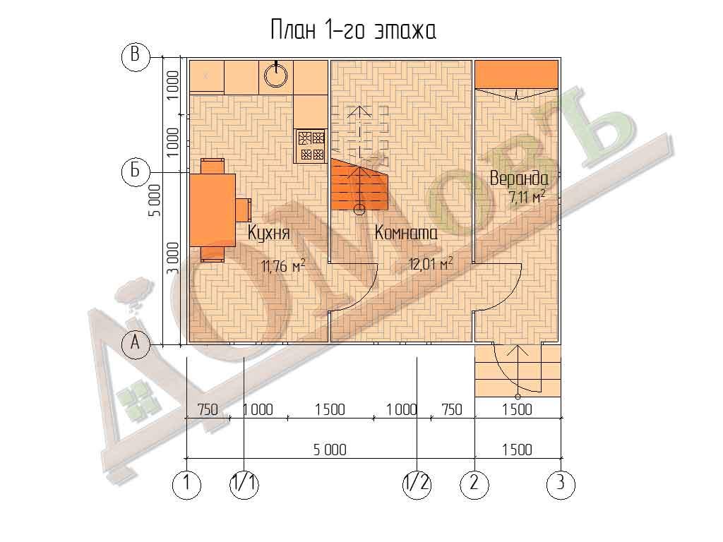Каркасный дом 5х5 с верандой 1,5х5 - планировка 1 этажа