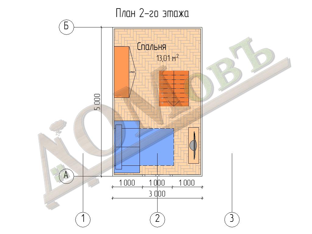 Каркасный дом 5х5 с верандой 1,5х5 - планировка 2 этажа