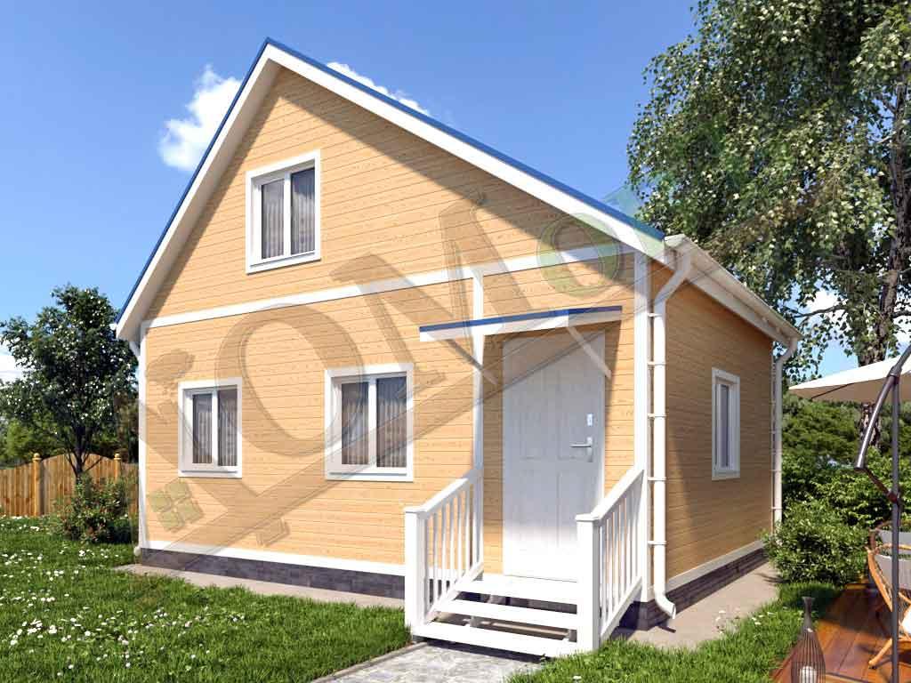 Каркасный дом 5х5 с верандой 1,5х5 - ракурс 2