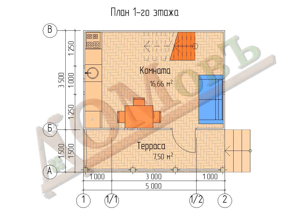 Каркасный дом 5х5 с террасой 1,5х5 - планировка 1 этажа