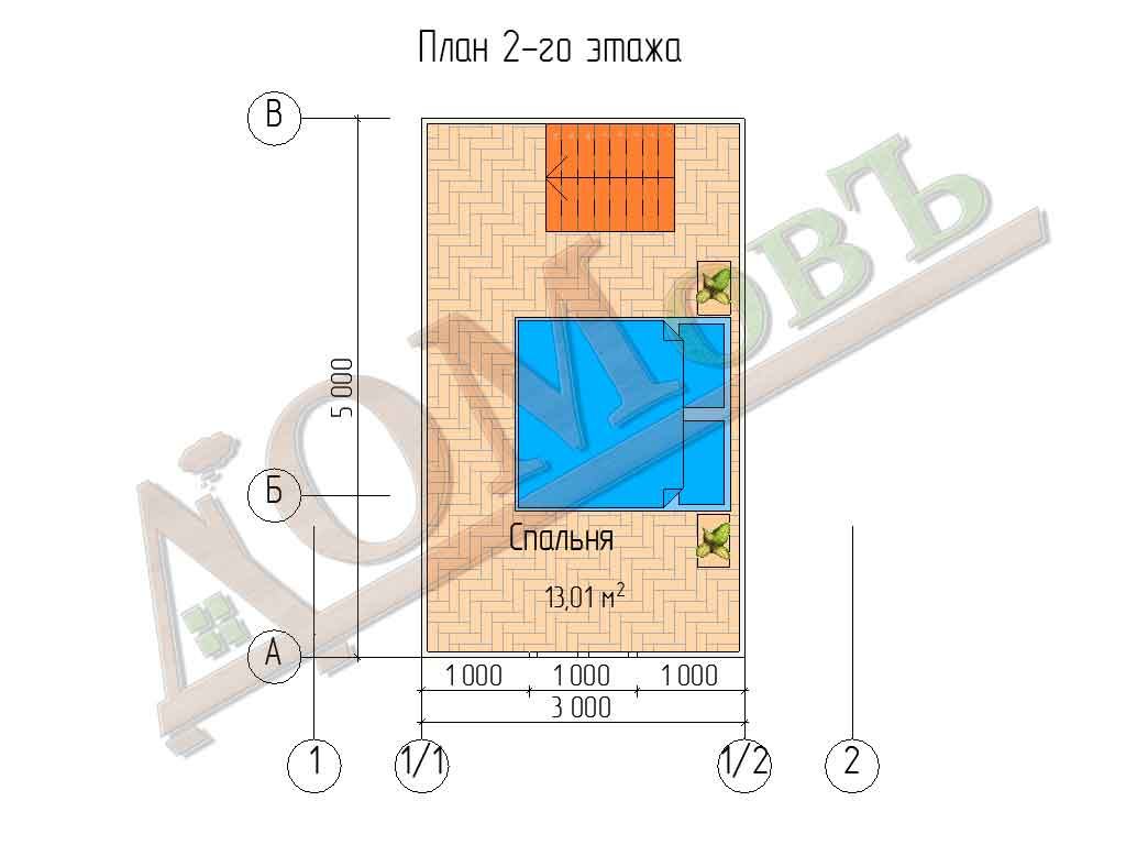 Каркасный дом 5х5 с террасой 1,5х5 - планировка 2 этажа