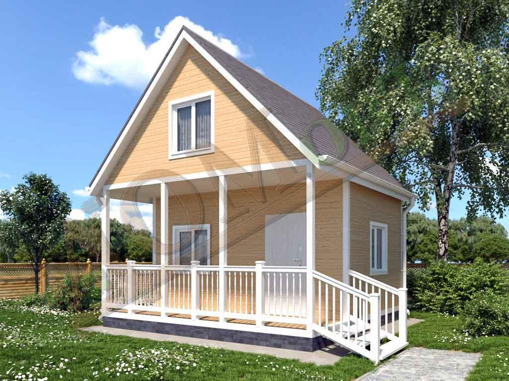 Каркасный дом 5х5 с террасой 1,5х5 - ракурс 2