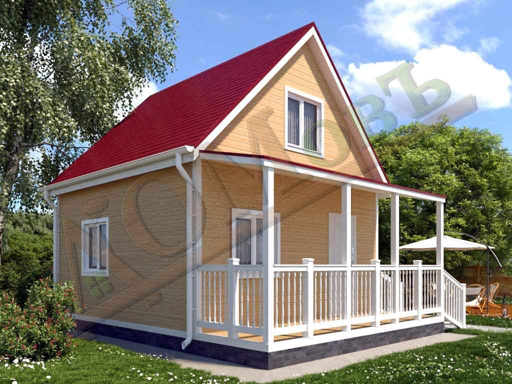Каркасный дом 5х5 с террасой 1,5х5