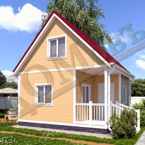 Каркасный дом 5х5 с террасой и верандой 1,5х2,5