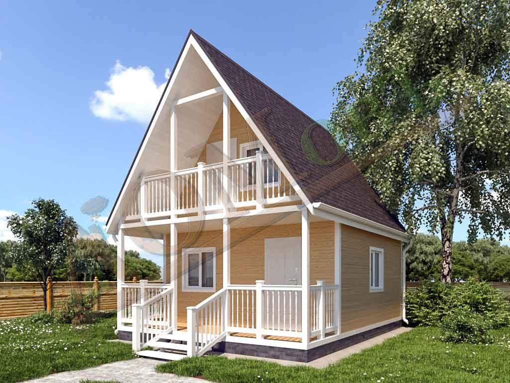 Каркасный дом 5х5 с террасой 1,5х5 и балконом 1,5х3 - ракурс 2