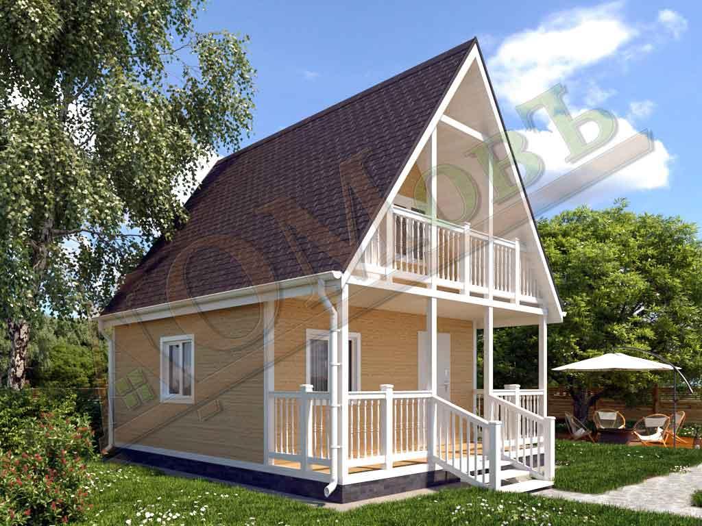 Каркасный дом 5х5 с террасой 1,5х5 и балконом 1,5х3