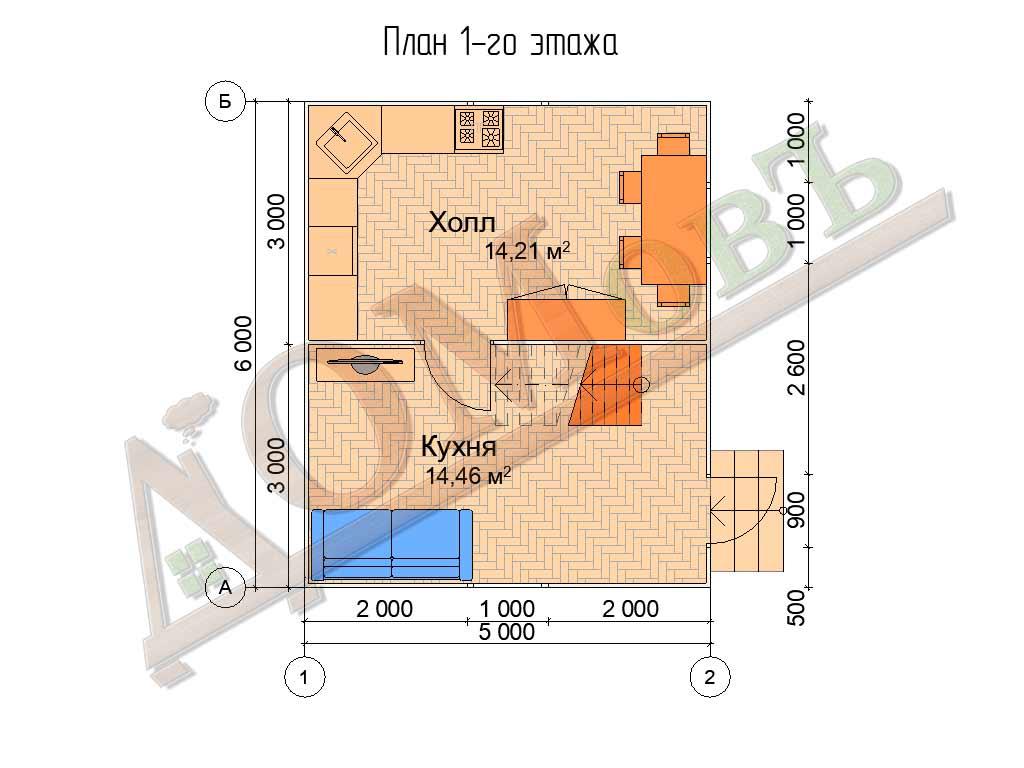 Каркасный дом 5х6 - планировка 1 этажа