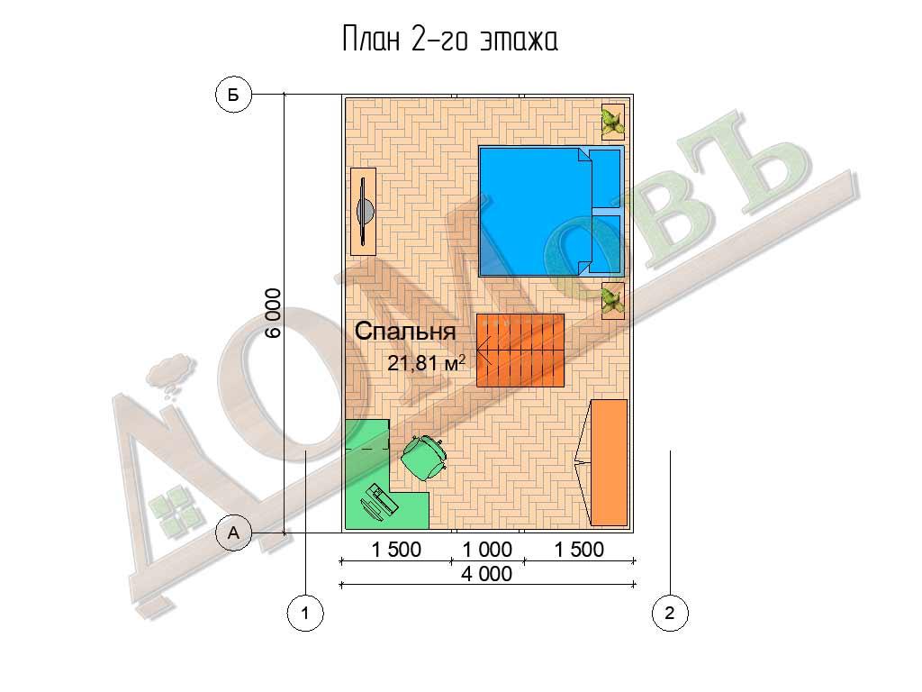 Каркасный дом 5х6 - планировка 2 этажа