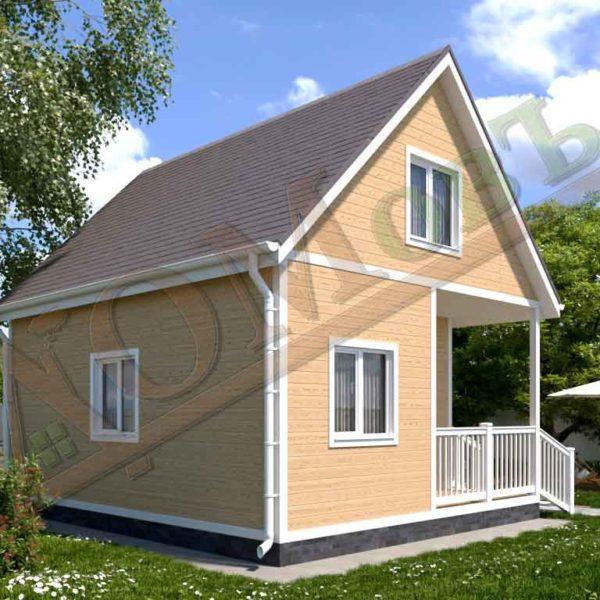 Каркасный дом 5х6 с террасой 1,5х2,5