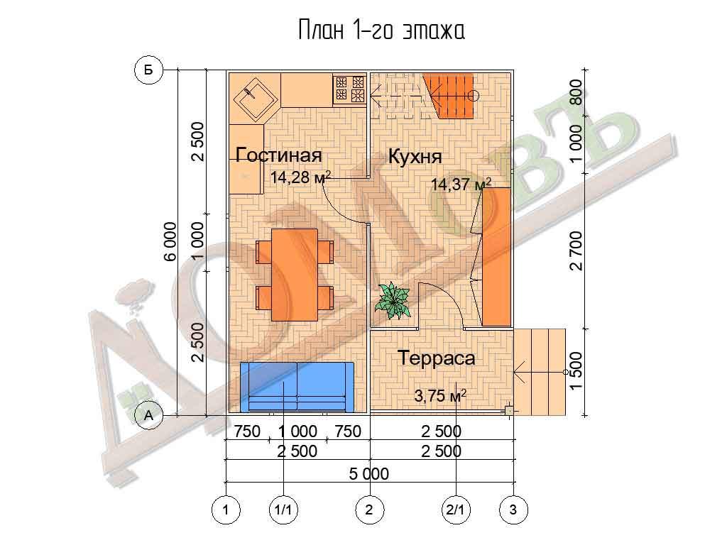 Каркасный дом 5х6 с террасой 1,5х2,5 - планировка 1 этажа