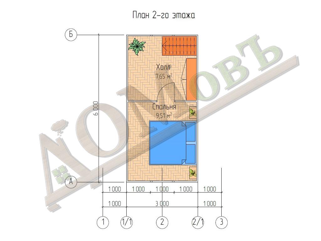 Каркасный дом 5х6 с террасой 1,5х2,5 - планировка 2 этажа