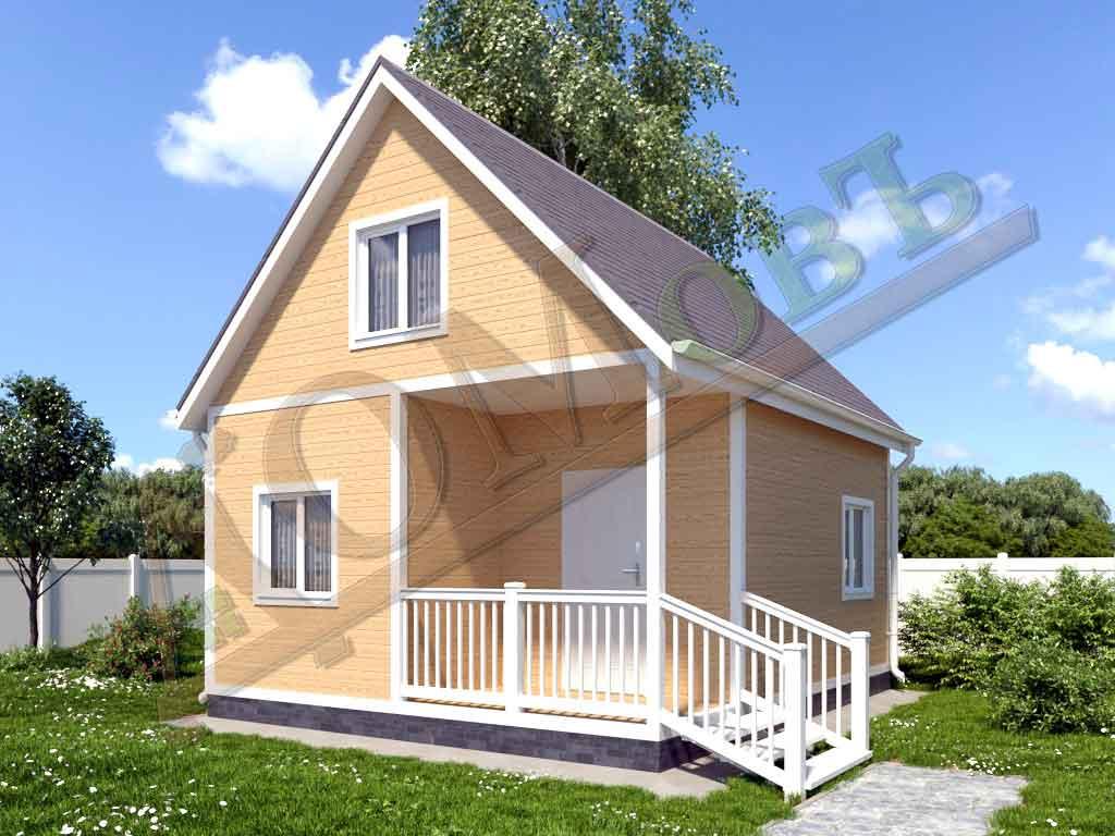 Каркасный дом 5х6 с террасой 1,5х2,5 - ракурс 2