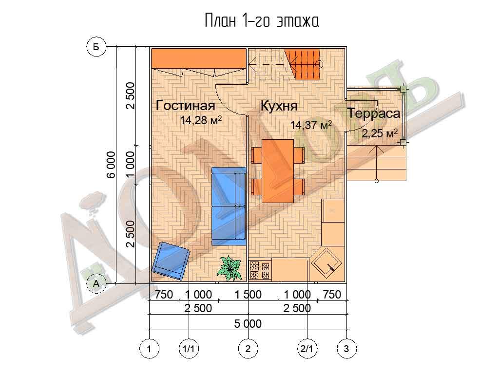Каркасный дом 5х6 с террасой 1,5х1,5 - планировка 1 этажа