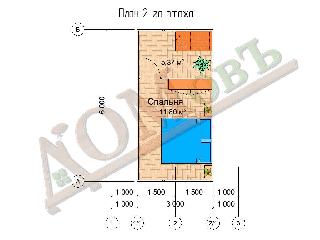 Каркасный дом 5х6 с террасой 1,5х1,5 - планировка 2 этажа